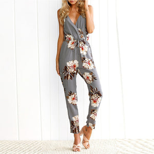 Flower Printed Sexy V Collar Strap Sleeveless Halter Slim Jumpsuit