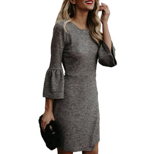 Round Neck  Plain  Three Quarter Sleeve Bodycon Dresses