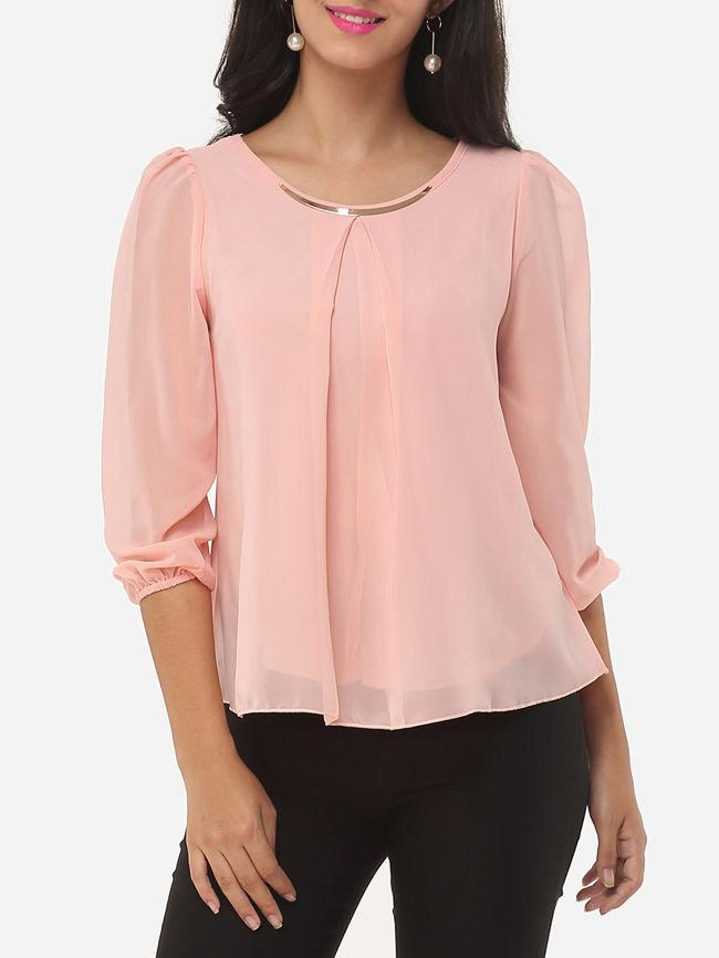 Plain Chiffon Round Neck Blouses With Metal Decoration