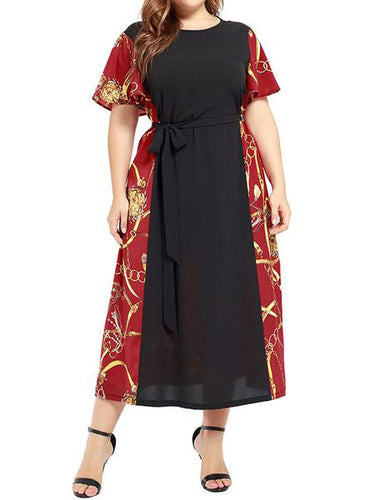 Large Size Women's Stitching Contrast Color Dress