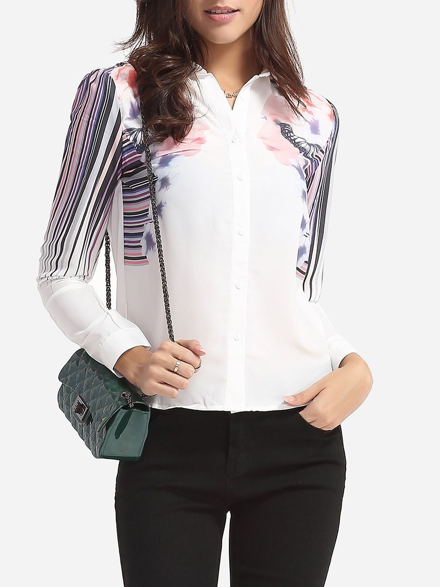 Printed Designed Polo Collar Blouse