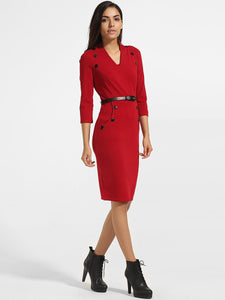 Diagonal Buttons Pockets V Neck Cotton Plain Split Bodycon Dress