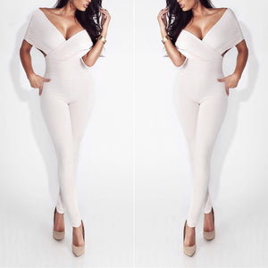 Sexy V Collar Cross Shoulder Solid Color Slim Jumpsuit
