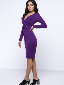 Deep V-Neck Slit Plain Captivating Bodycon Dress