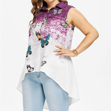 Long And Medium Sleeveless Butterfly Printed Commuter Women's Shirts