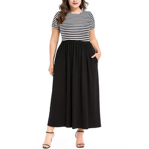 Plus-Size Stylish Striped Splicing Short Sleeves Maxi Dress