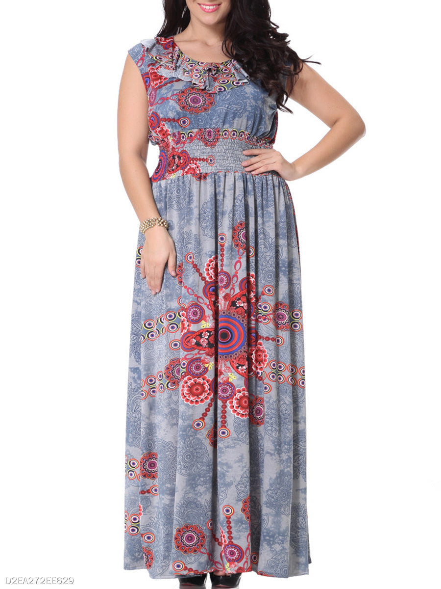Dramatic Swing Ruffle Trim  Printed  Plus Size  Maxi Dress