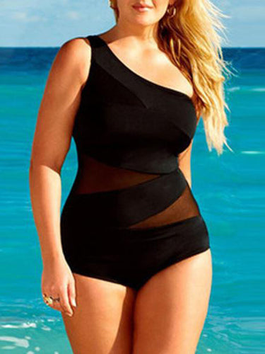 Plus Size Black Lace Patchwork One Piece Swimwear