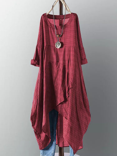 Round Neck  Asymmetric Hem  Plaid Maxi Dress