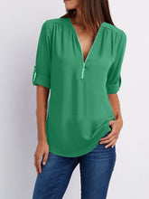 V Neck  Zipper  Patchwork Plain Blouses
