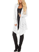 Lace Trim Collarless Cover Up Thin Coat