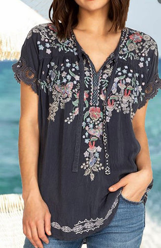 Loose Embroidered  Short-Sleeved T-Shirt