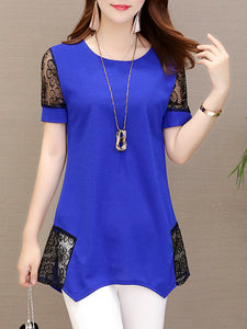 Polyester  Round Neck  Patchwork  Lace Plain  Short Sleeve Short Sleeve T-Shirts
