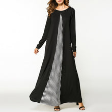 Black Stripe Long Sleeve Woman Maxi Dress