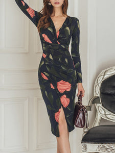 Ruched  Floral Printed Bodycon Dress