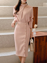 Round Neck  Decorative Button  Plain Bodycon Dress