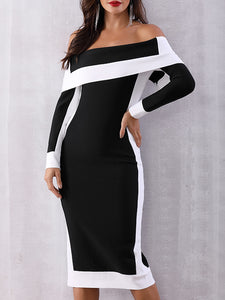 Open Shoulder  Patchwork Slit  Color Block Colouring Bodycon Dress