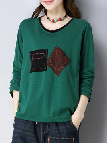 ccebfbad0e498 Autumn Spring Polyester Women Round Neck Patchwork Plain Long Sleeve T- Shirts