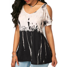 Printed V Neck Short Sleeve Cotton Woman T-Shirt