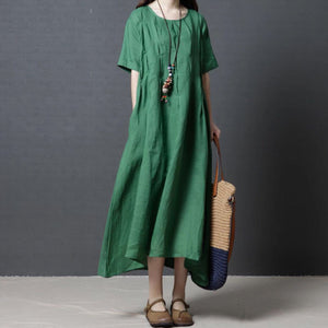 Woman Simple Plain Linen Shift Maxi Dress