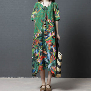 Loose Large Size Woman Round Neck Maxi Dress