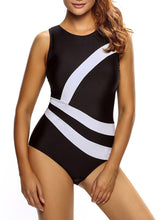 Black White Modern Round Neck  Color Block One Piece