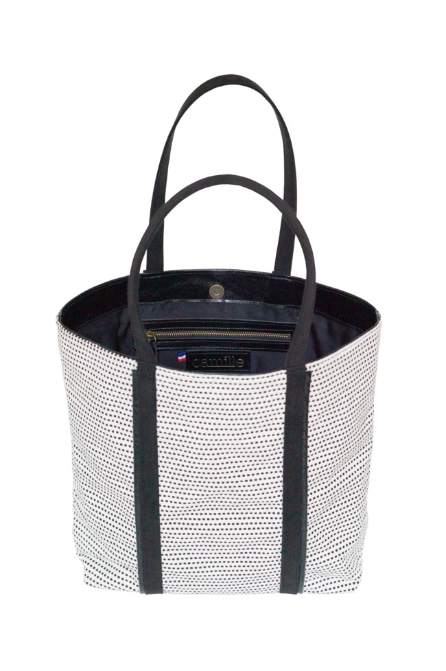 Vegan Camille Tote Bag Black and White - Veenofs