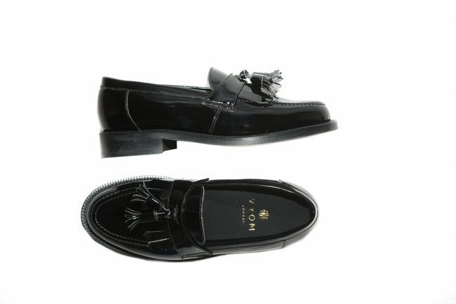 Womens Vegan Shoes - Tassel Fringe Loafer (Black) - Vyom London | Quality Vegan Footwear