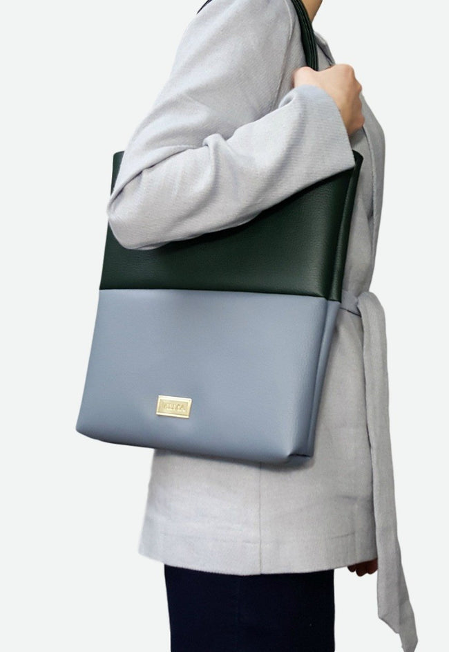 Vilma Vegan Tote Bag - Grey/Green - Veenofs