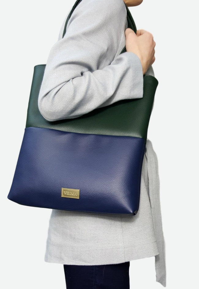 Vilma Vegan Tote Bag - Royal Blue/Green - Veenofs