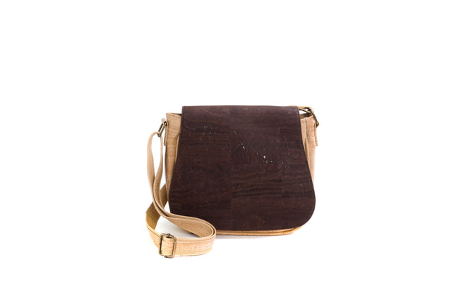 Vegan Liores Cork Shoulder Bag - Brown/Beige - Veenofs