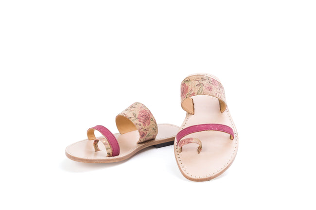 Vegan Liores Cork Sandals With Tile Pattern - Floral/ Lilac - Veenofs
