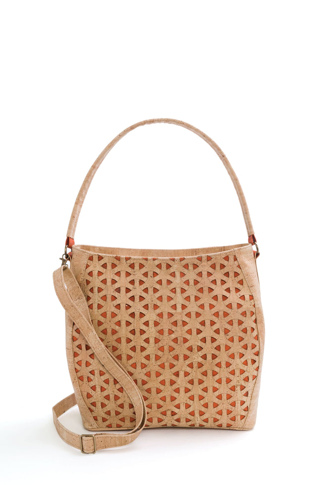 Vegan Liores Cork Handbag With Hexagonal Pattern - Beige/Orange - Veenofs