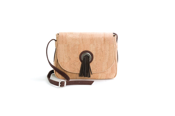 Liores Cork Saddle Bag With Pompon In Suede (Beige) - Veenofs