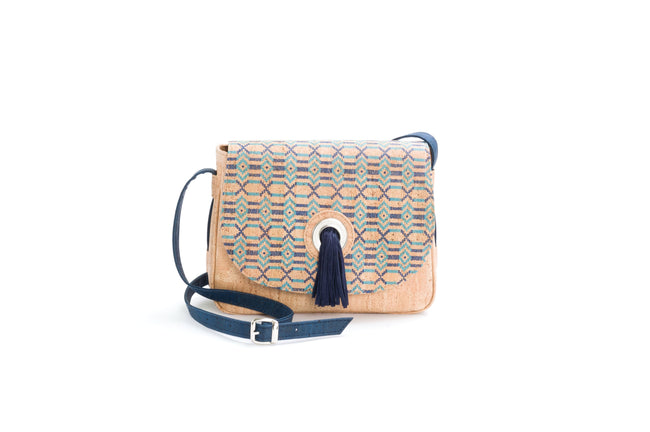 Vegan Liores Cork Saddle Bag With Pompon In Suede - Blue/Beige - Veenofs