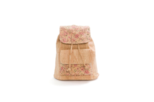Vegan Liores Cork Backpack With Pocket - Floral/Beige - Veenofs