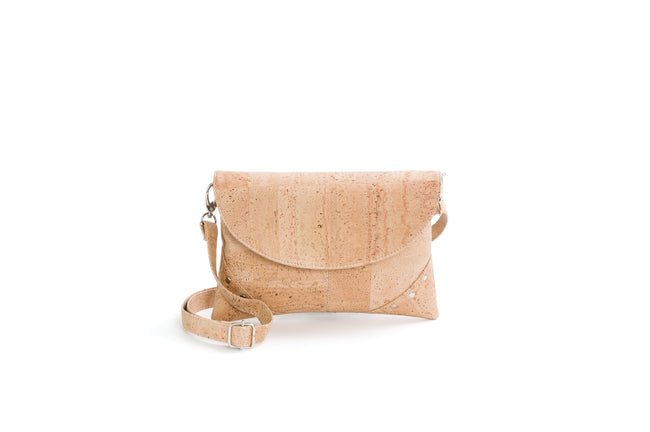 Liores Crossbody Cork Bag With Studs (Beige) - Veenofs