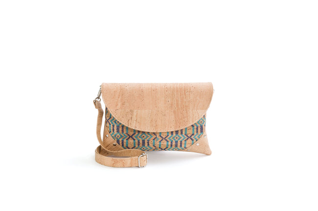 Liores Crossbody Cork Bag With Studs (Blue Ethnic/Beige) - Veenofs