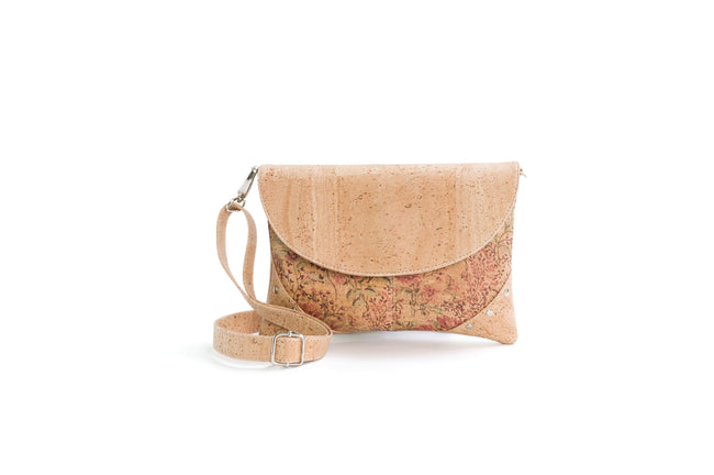 Liores Crossbody Cork Bag With Studs (Floral/Beige) - Veenofs