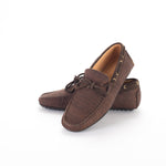 Liores Cork Moccasin For Man With Suede - Chocolate Brown - Veenofs