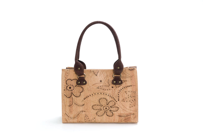 Vegan Liores Cork Handbag With Floral Pattern - Beige/Brown - Veenofs