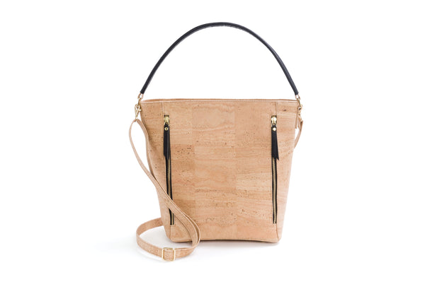 Liores Cork Tote Bag With Strap (Beige) - Veenofs