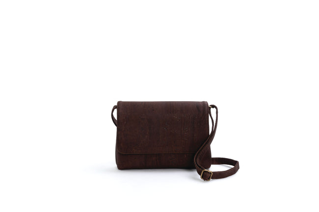 Liores Crossbody Cork Bag With Flap (Choc. Brown) - Veenofs
