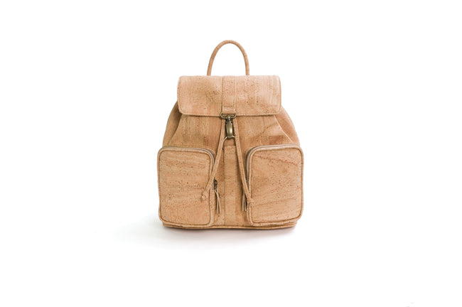Vegan Liores Cork Backpack With Two Pockets - Beige - Veenofs