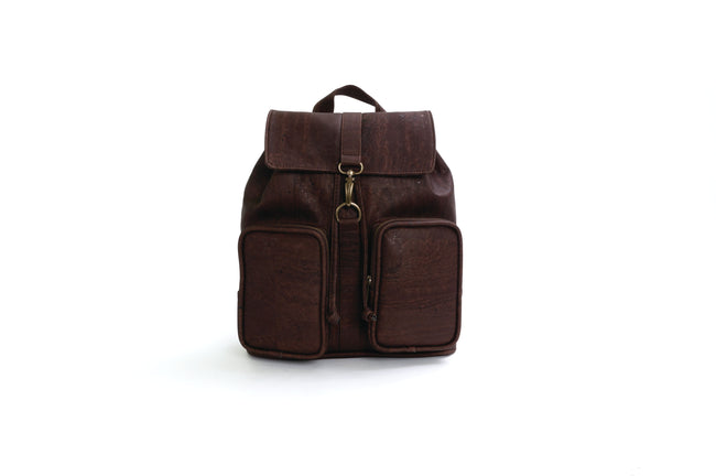 Vegan Liores Cork Backpack With Two Pockets - Chocolate Brown - Veenofs
