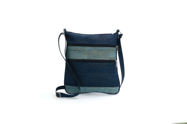 Liores Crossbody Cork Bag With 2 Zippers (Dark Blue) - Veenofs