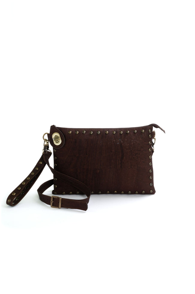 Vegan Liores Cork Clutch With Studs - Chocolate Brown - Veenofs