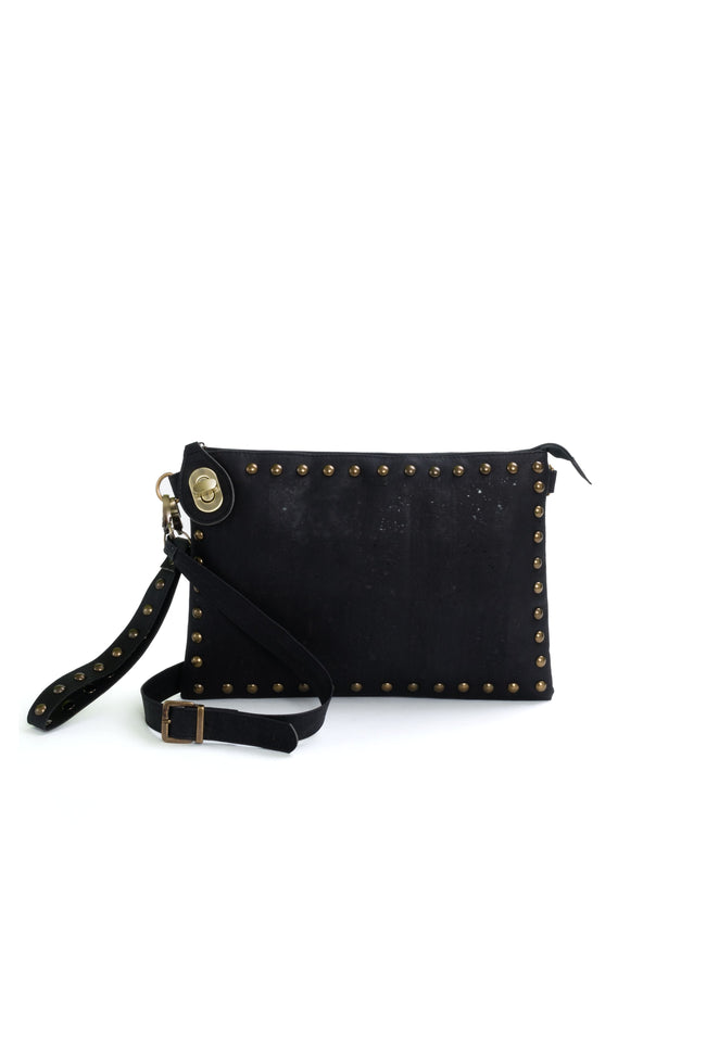 Vegan Liores Cork Clutch With Studs - Black - Veenofs