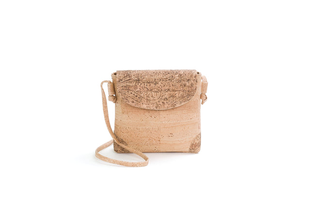 Liores Crossbody Cork Bag (Brown Cornucopias/Beige) - Veenofs