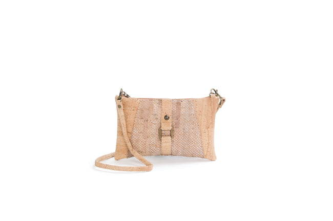 Vegan Liores Cork Pochette With Buckle - Beige/Silver Chain - Veenofs